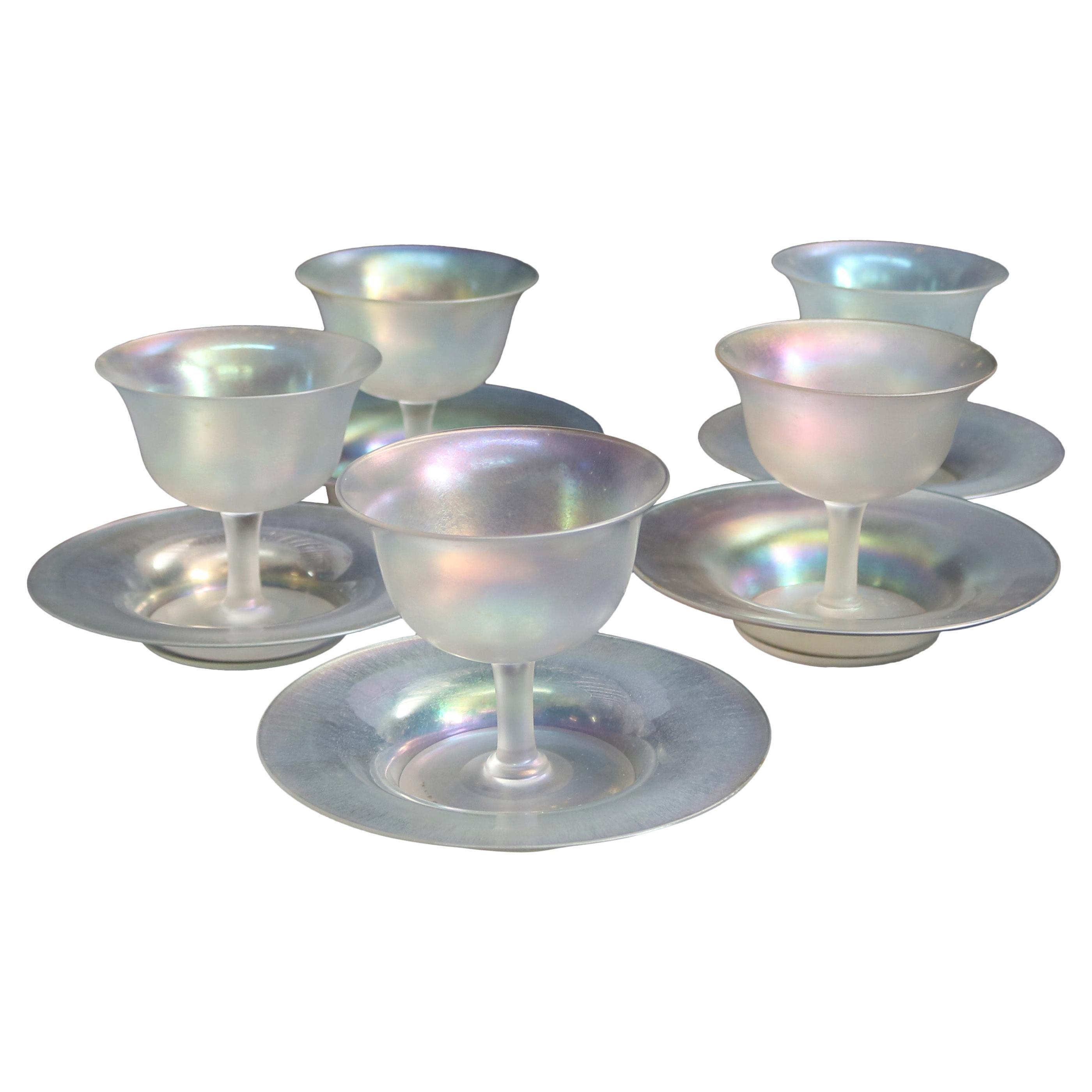Steuben Art Glass Stemmed Sherbet Goblets with Saucers, circa 1930s