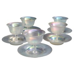Steuben Art Glass Stemmed Sherbet Goblets with Saucers, circa 1930s