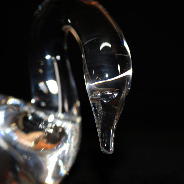 Mid-Century Modern Steuben Crystal Sculpture Paperweight of Swan by Lloyd Atkins, Signed For Sale