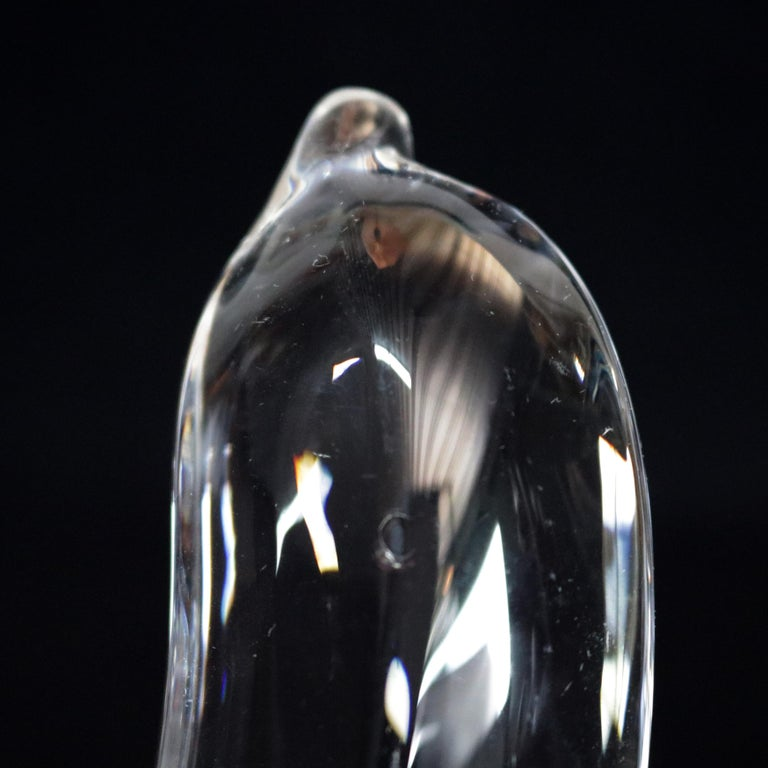 Hand-Crafted Steuben Figurative Crystal Fruit Sculpture Paperweight of Banana, Signed For Sale