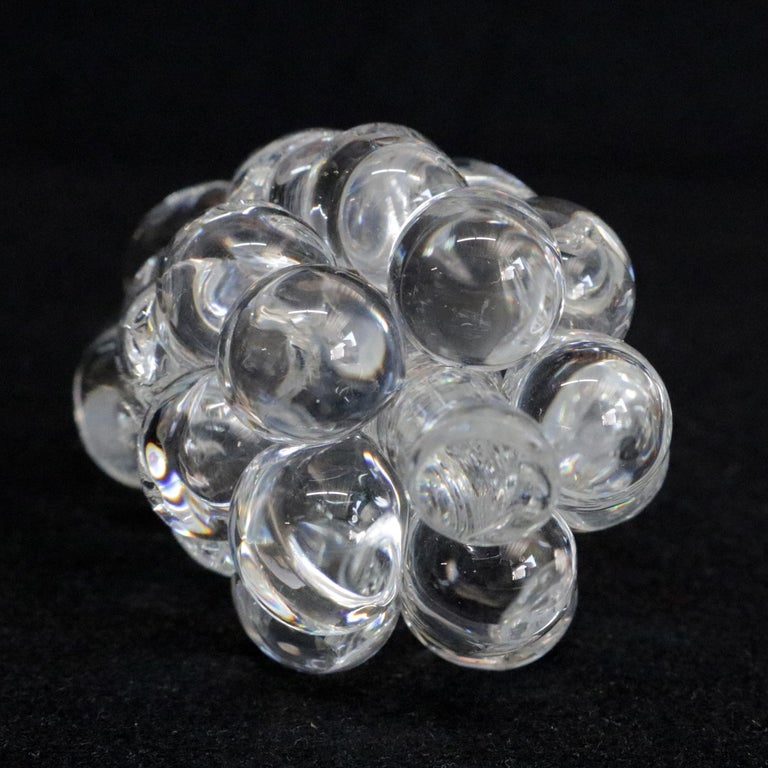 Mid-Century Modern Steuben Figurative Crystal Fruit Sculpture Paperweight of Grapes, Signed For Sale