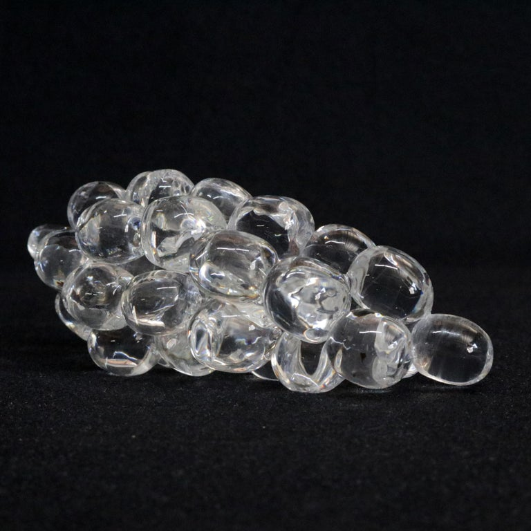 Art Glass Steuben Figurative Crystal Fruit Sculpture Paperweight of Grapes, Signed For Sale