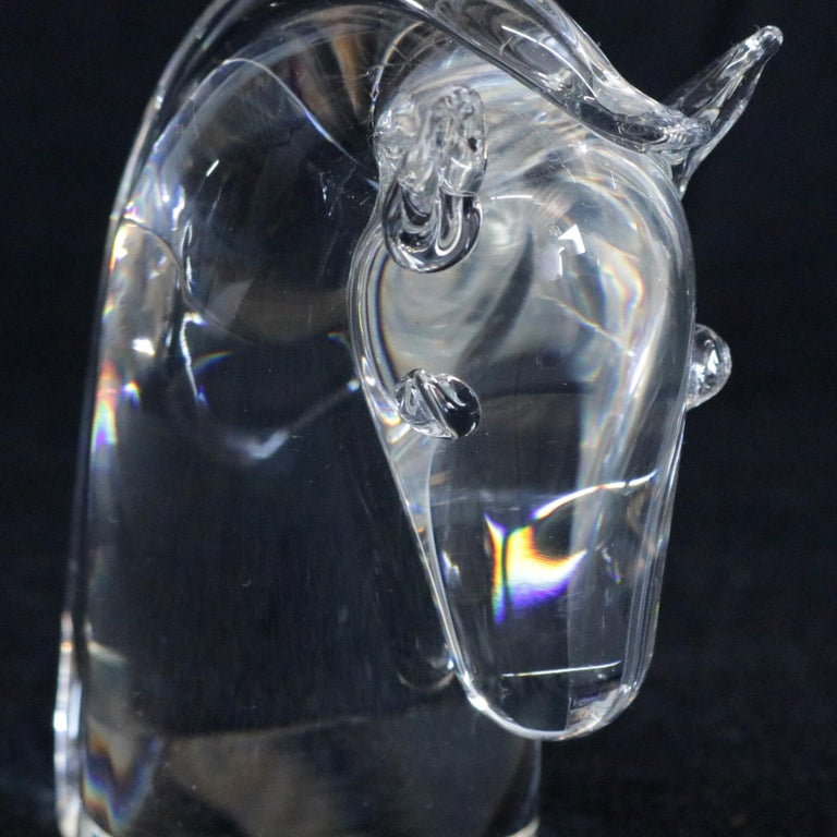 Mid-Century Modern Steuben Figurative Crystal Sculpture Horse Head Paperweight by Dowler, Signed For Sale