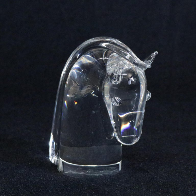 Hand-Crafted Steuben Figurative Crystal Sculpture Horse Head Paperweight by Dowler, Signed For Sale