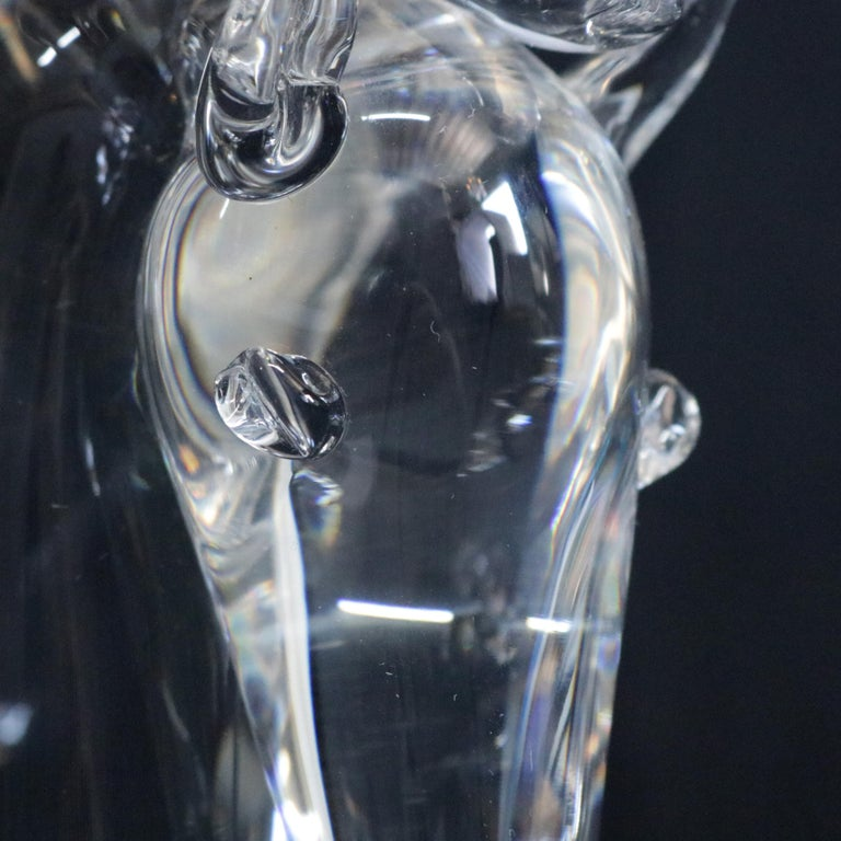 Steuben Figurative Crystal Sculpture Horse Head Paperweight by Dowler, Signed In Good Condition For Sale In Big Flats, NY