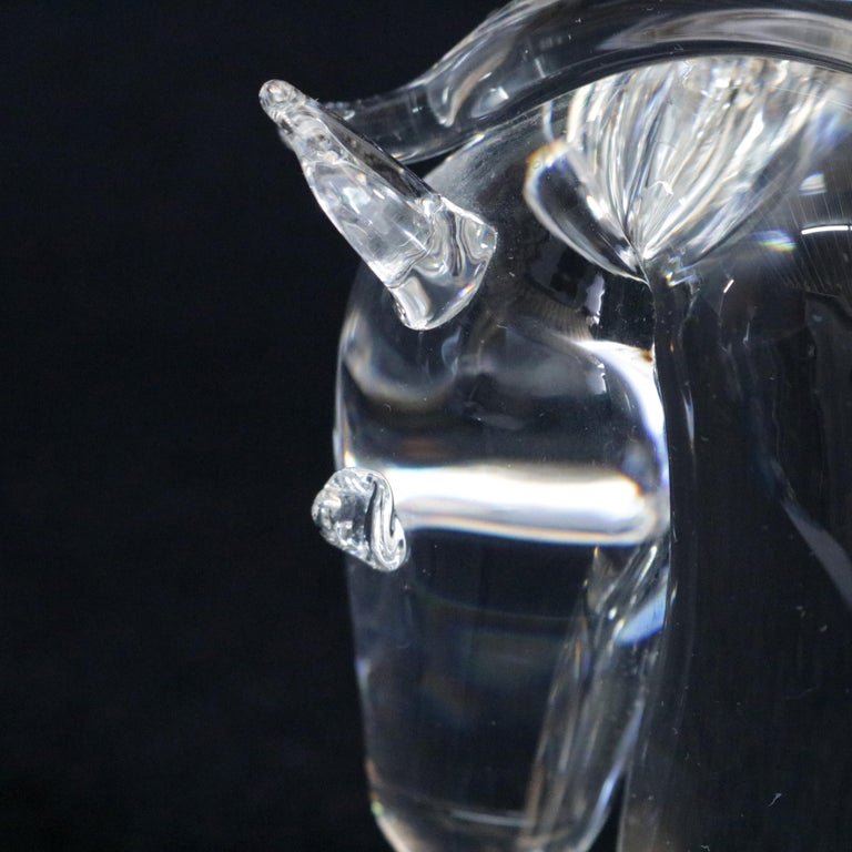 20th Century Steuben Figurative Crystal Sculpture Horse Head Paperweight by Dowler, Signed For Sale