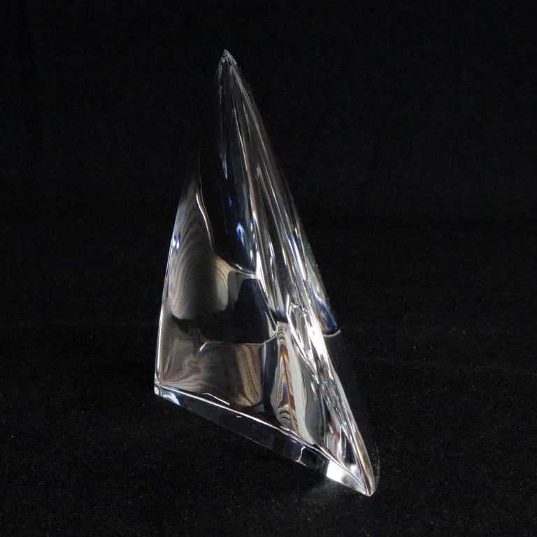 Steuben Figurative Crystal Sculpture of Close To The Wind Sailboat Jib For Sale 1