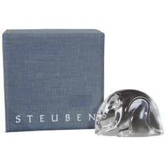 Steuben Glass Crystal Mouse Rat Paperweight Figurine Hand Cooler with Box
