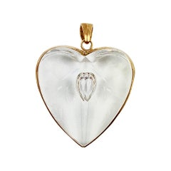 Steuben Glass Large 18 Karat Gold and Glass Heart Pendant in Original Box