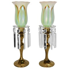 Steuben Pulled Feather Shades on Antique Brass Lamp with Prisms