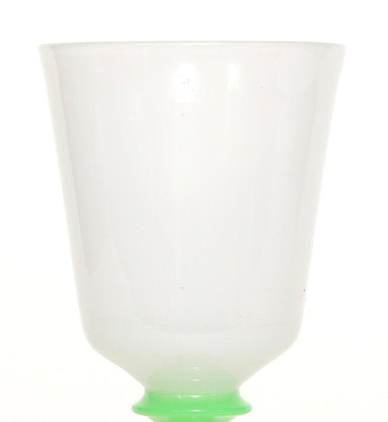American  Steuben/Stevens & Williams Jade Green Opaline Stemmed Glass For Sale