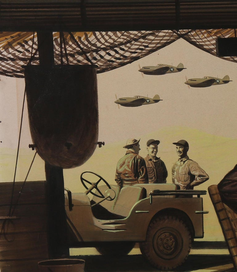 This large World War II-era illustration is a sprawling depiction of life in Japan for American soldiers. Created with gouache and watercolor by artist and illustrator Stevan Dohanos, this image was published in the July 3, 1943 issue of The
