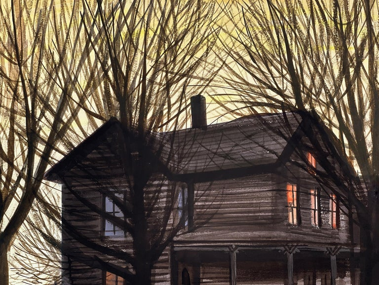 Dog in front of Wooden House during Winter Sunset - Painting by Stevan Dohanos