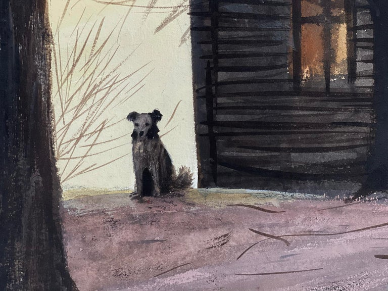 Dog in front of Wooden House during Winter Sunset - American Modern Painting by Stevan Dohanos