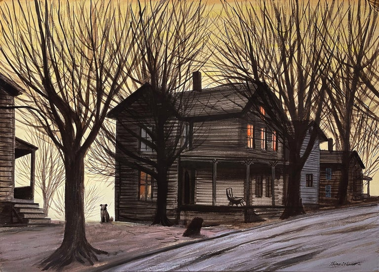 Stevan Dohanos Animal Painting - Dog in front of Wooden House during Winter Sunset