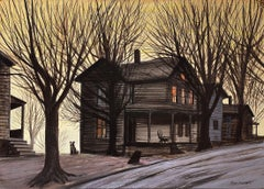 Dog in front of Wooden House during Winter Sunset