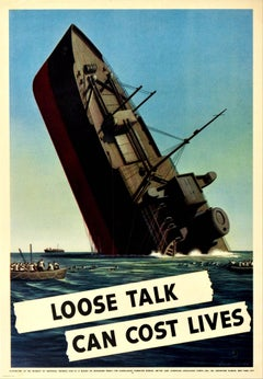 Original Vintage Poster Loose Talk Can Cost Lives WWII Sinking Ship Lifeboats