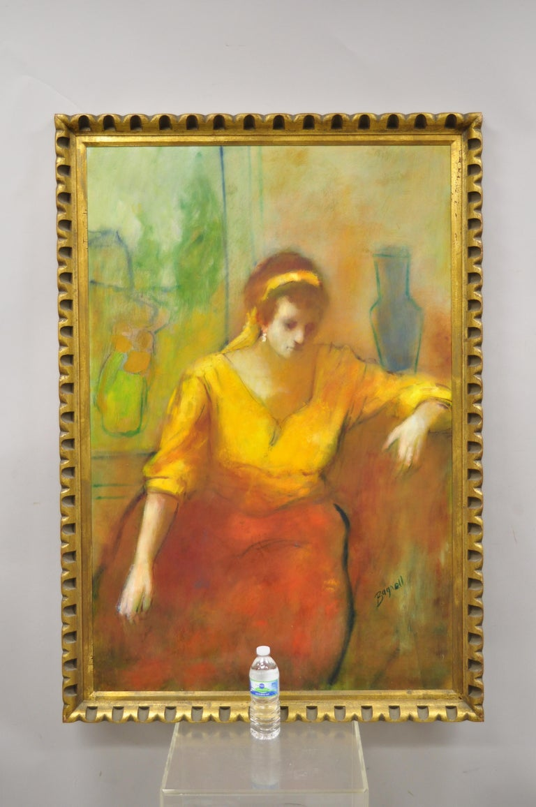 Steve Bagnell Seated Woman in Yellow Headband Orange Dress 1960 Oil on Masonite For Sale 4