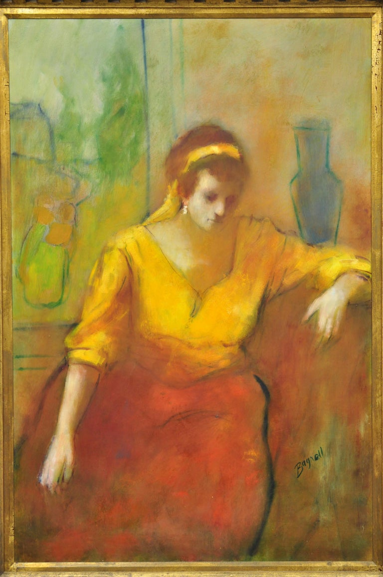 Steve Bagnell seated woman in yellow headband and orange dress, 1960s oil on Masonite. Item features large impressive painting of a seated woman with yellow headband and orange dress. Signed Steve Bagnell. Nicely carved wood frame. Circa mid to late