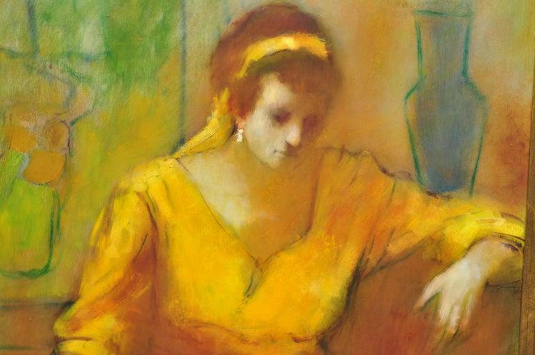 Mid-Century Modern Steve Bagnell Seated Woman in Yellow Headband Orange Dress 1960 Oil on Masonite For Sale