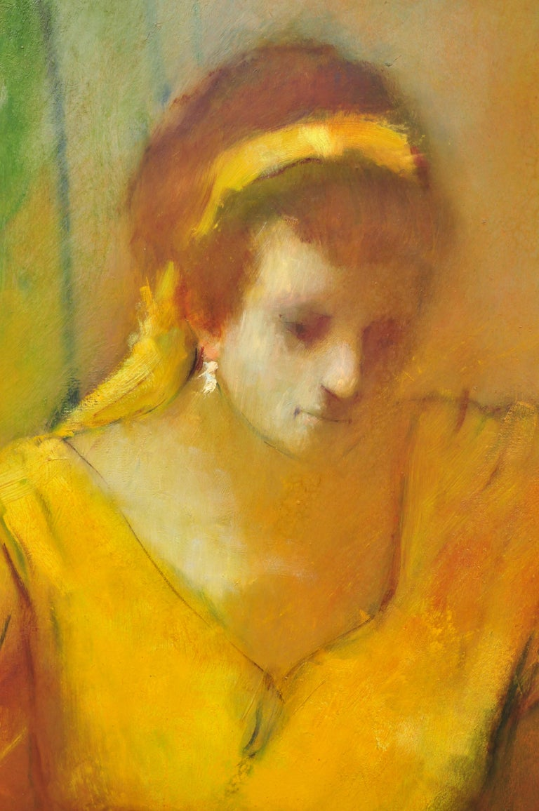 North American Steve Bagnell Seated Woman in Yellow Headband Orange Dress 1960 Oil on Masonite For Sale