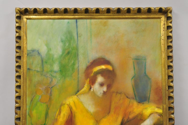Steve Bagnell Seated Woman in Yellow Headband Orange Dress 1960 Oil on Masonite In Good Condition For Sale In Philadelphia, PA