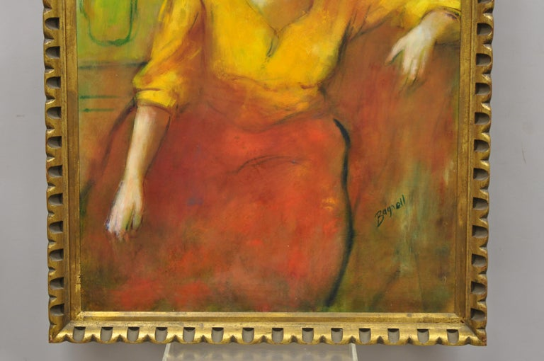 20th Century Steve Bagnell Seated Woman in Yellow Headband Orange Dress 1960 Oil on Masonite For Sale