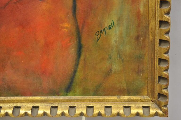 Steve Bagnell Seated Woman in Yellow Headband Orange Dress 1960 Oil on Masonite For Sale 3