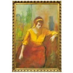 Steve Bagnell Seated Woman in Yellow Headband Orange Dress 1960 Oil on Masonite