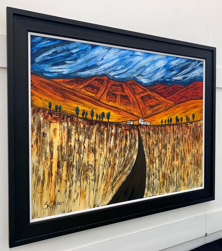 'Ploughed Fields', Blue Red Orange Landscape Painting by Cubist Fauvist British Expressionist Artist.  Unframed canvas size is 45 x 34 inches.  Framed dimensions are approximately 53 x 42 inches.   Steve Capper, who trained at Manchester College of