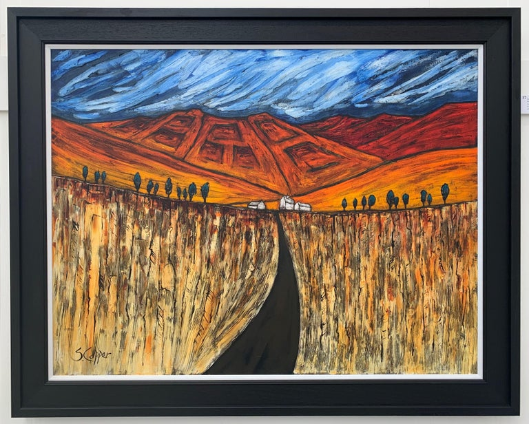 Blue Red Orange Landscape Painting Cubist Fauvist British Expressionist Artist For Sale 1