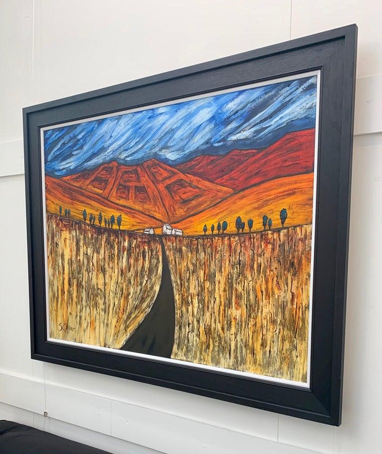 Blue Red Orange Landscape Painting Cubist Fauvist British Expressionist Artist For Sale 2