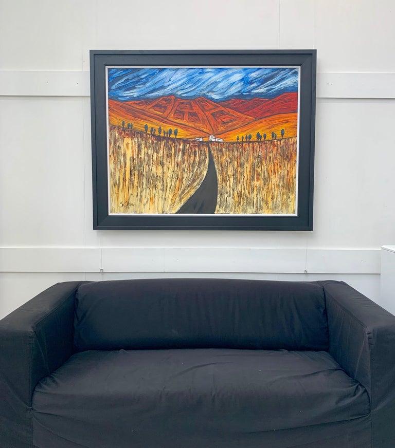 Blue Red Orange Landscape Painting Cubist Fauvist British Expressionist Artist For Sale 3