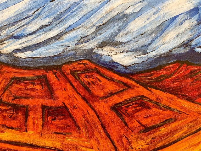 Blue Red Orange Landscape Painting Cubist Fauvist British Expressionist Artist For Sale 4