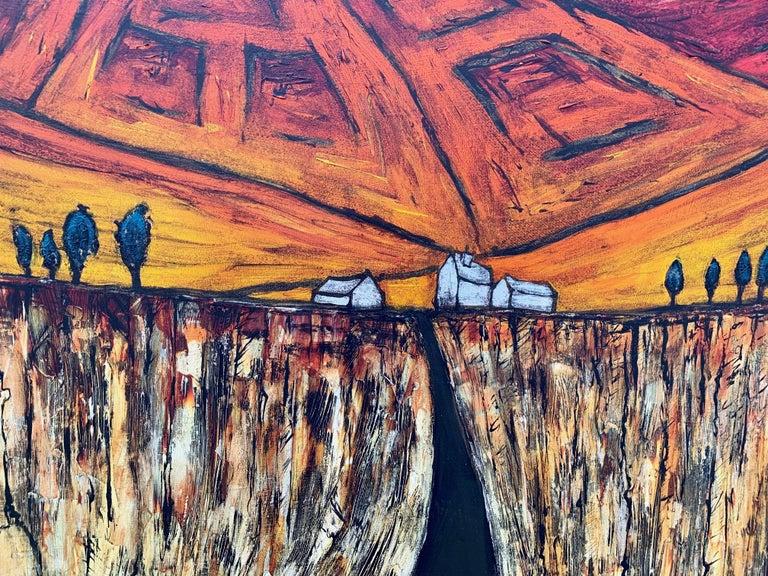 Blue Red Orange Landscape Painting Cubist Fauvist British Expressionist Artist For Sale 5