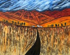 Blue Red Orange Landscape Painting Cubist Fauvist British Expressionist Artist