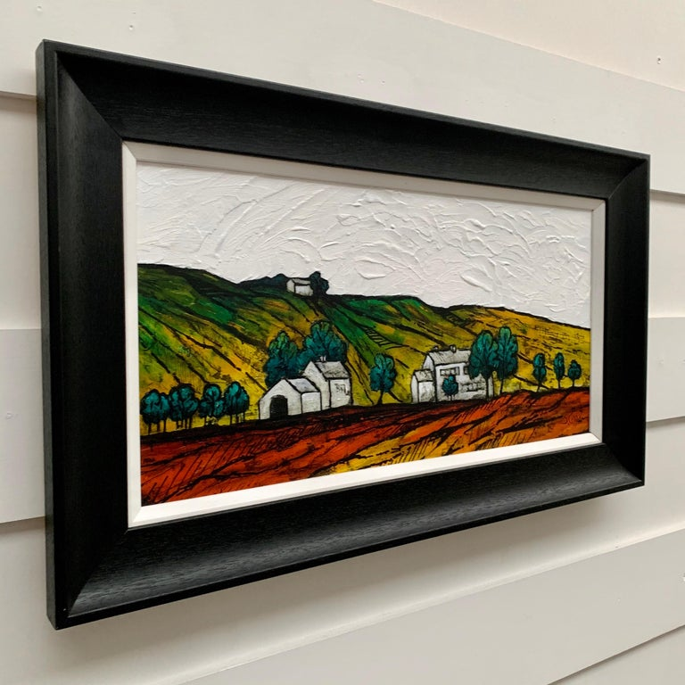 Colourful Abstract Landscape Painting of English Countryside by British Artist - Fauvist Mixed Media Art by Steve Capper