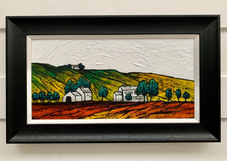 Colourful Abstract Landscape Painting of English Countryside by British Artist Steve Capper.  Art measures 24 x 12 inches Frame measures inches 28 x 16 inches  Capper still lives and works near Oldham, in the Pennines, UK, and these hills have had a