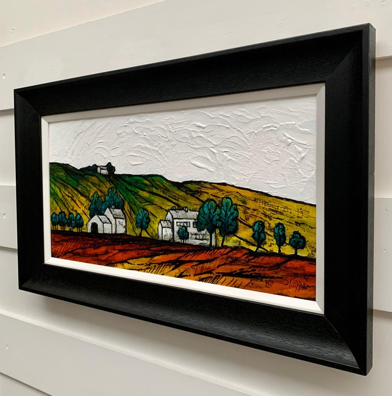 Colourful Abstract Landscape Painting of English Countryside by British Artist 1