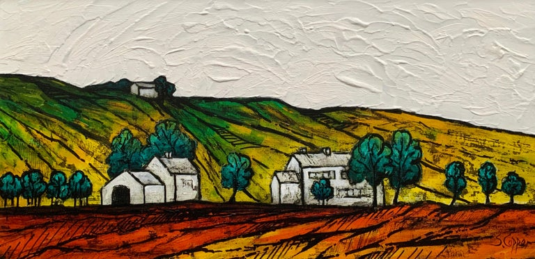 Colourful Abstract Landscape Painting of English Countryside by British Artist 4