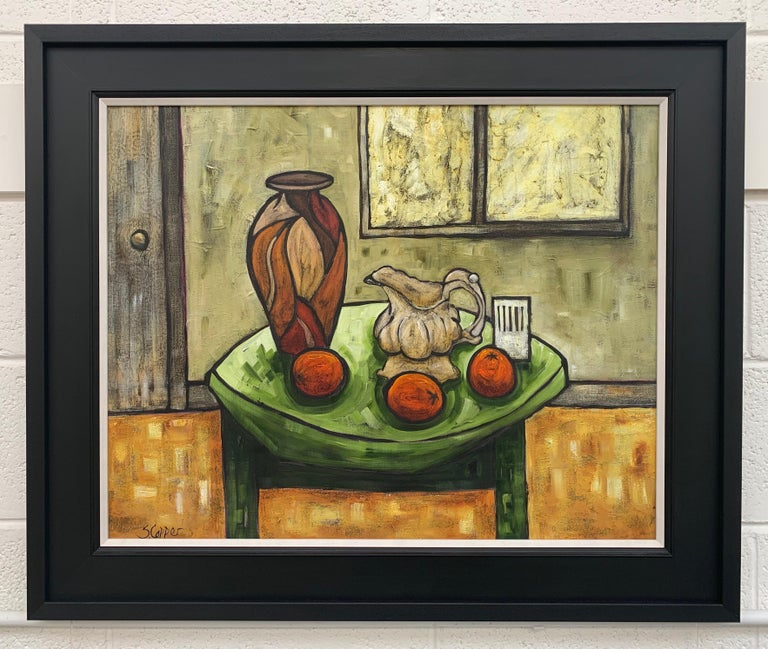 Cream Jug Still Life Painting by Cubist Fauvist British Expressionist Artist. Steve Capper, who trained at Manchester College of Art, is an artist who sits firmly in the tradition of northern school expressionism, but whose bold and contemporary use