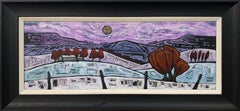 Panoramic Abstract Landscape Painting Purple Sky & Red Trees by British Artist