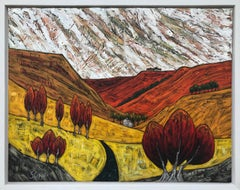 Red Yellow Pennines Saddleworth Abstract Landscape Painting by British Artist