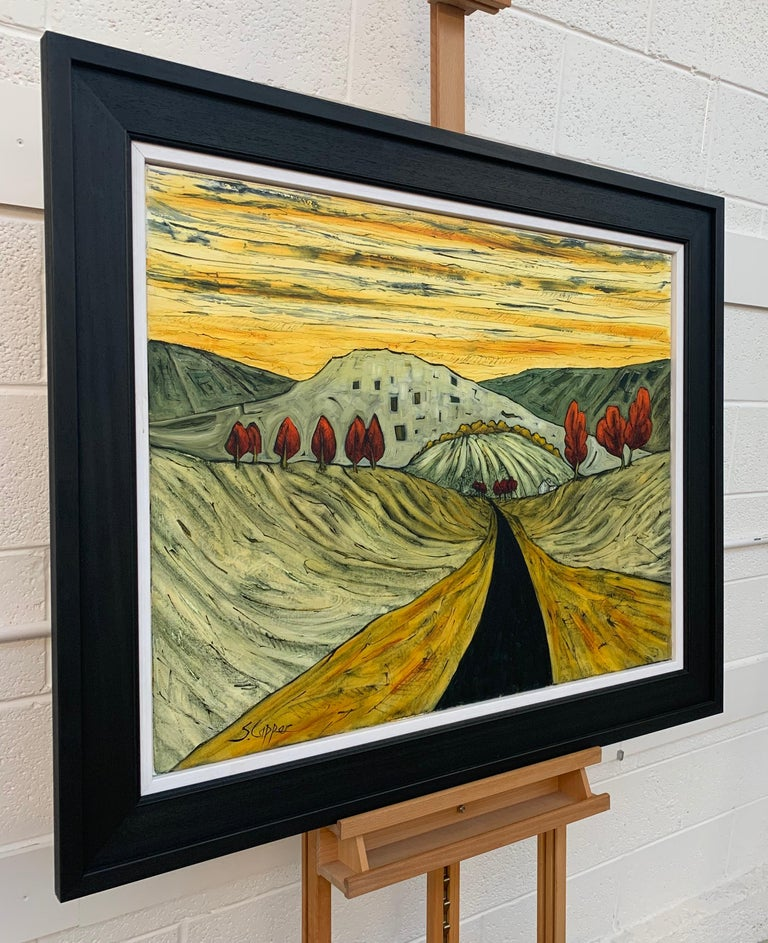 Road in the Pennines Saddleworth Abstract Landscape Painting by British Artist - Brown Abstract Painting by Steve Capper