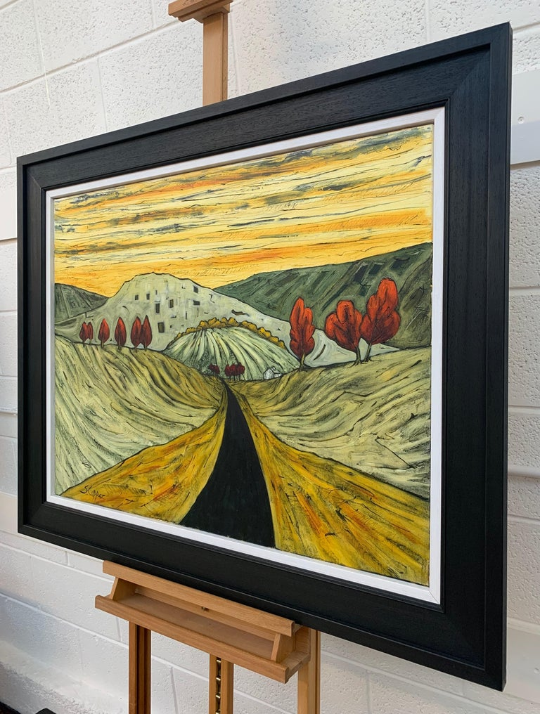 Road in the Pennines Saddleworth Abstract Landscape Painting by British Artist For Sale 1