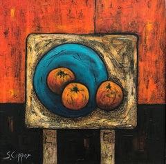 Still Life Interior Painting with Oranges by Cubist Fauvist British Artist
