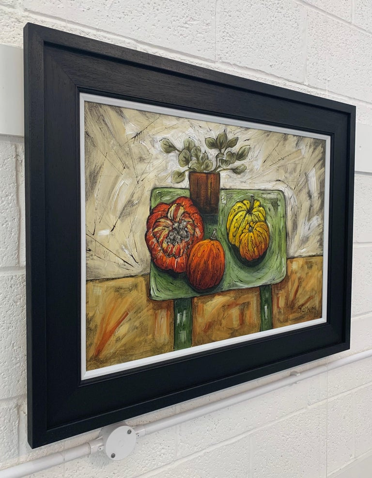 Still Life Painting of Fruit & Veg with Flowers by Cubist Fauvist British Artist - Brown Interior Painting by Steve Capper