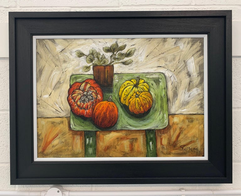 Still Life Interior Painting of Flowers, Vegetables & Fruit on a Wooden Table by Cubist Fauvist British Expressionist Artist.   Art measures 28 x 20 inches Frame measures 35 x 27 inches  Steve Capper, who trained at Manchester College of Art, is an