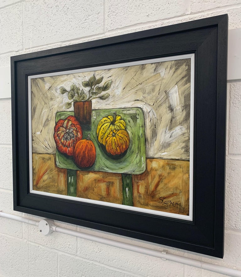 Still Life Painting of Fruit & Veg with Flowers by Cubist Fauvist British Artist For Sale 1