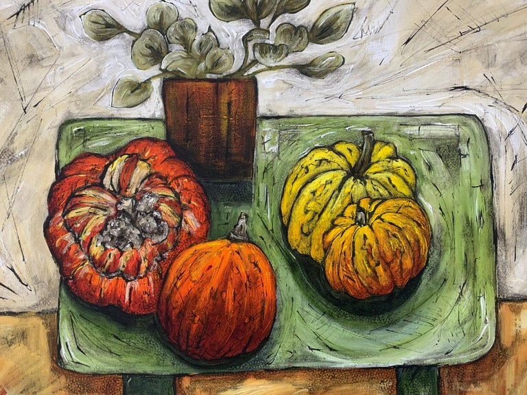 Still Life Painting of Fruit & Veg with Flowers by Cubist Fauvist British Artist For Sale 4